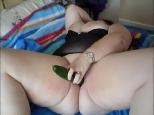 Cucumber fucking BBW shaven pussy Milf