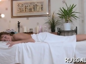 Sexy ramming of a moist and bawdy cleft in massage room