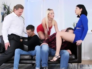 Lovita Fate and Lady Lee getting the guys cocks rock hard