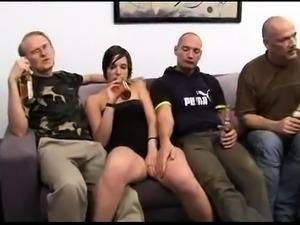 Czech amateur hardcore gangbang and cumshot