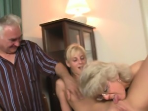 He finds her young gf fucking with his olds