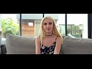 Petite blond teen fucked on a casting couch