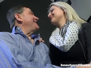 Young hot lady makes old man happy on bed