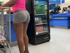 Bubble Booty VPL in Grey Shorts (Checkout Line)