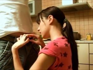 Amateur teen rubs pussy in panties