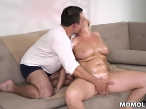 Divorced Mature Blonde And Her Much Younger Lover Having Sex