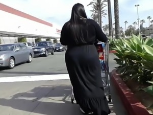 Goth fat ass BBW in  black dress