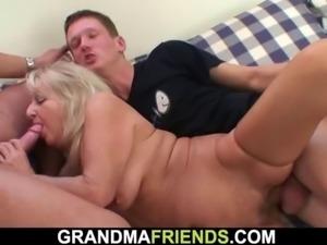 Boozed grandmother swallows two big cocks