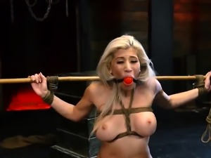 Beg to cum bondage Big-breasted platinum-blonde beauty