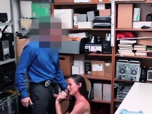 Shoplifter Babe Sofie Marie gives LP Guy awesome blowjob