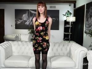 Skinny redhead coed Alexa Nova wears black stockings and
